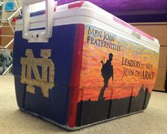 Army and Notre Dame hand painted cooler Fraternity Coolers, Frat Coolers, Hand Painted Coolers, Cooler Connection, Bubba Keg, Tailgate Games, Instagram Party, Cooler Painting, Theta