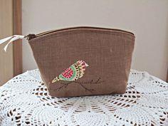 Applique Linen Clutch Cosmetic Bag  Purse by Antiquebasketlady, $13.00
