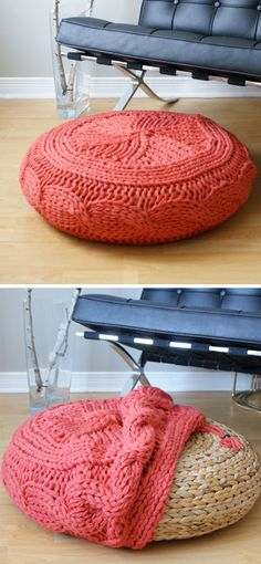 "Knitting pattern for Cable Knit Footstool Cover. This 23-5/8"" diameter by 7-1/8"" high Super Chunky Cable Knit ottoman was designed by Midknits to fit Ikea's ALSEDA footstool but you can also use as a pouf or other ottoman cover. It is knit using 6 strands ofyarn to create a modern, over-sized, knit cover. More pics at Etsy (affiliate link) tba"