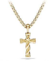 David Yurman Cable Classics Enhancer 18K Gold Cross Pendant - Gold