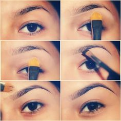 """Hey friends! Hope this helps! 1. Start with a clean brushed eyebrow 2.Underlined brow usings MACs 195 concealer brush with MACs Paint pot """"painterly."""" Or you can use concealer 3.Blend the product down onto your eyelid, a in downward motion. 4. Outline the bottom of your brow (using 208 angle brush from MAC.) I underlined it with MACs fluid line """"dip down"""" Then fill in brow with a matte brown eyeshadow. Tip:don't fill them in TOO dark. 5. Outline top and bottom of your brow with concealer."""