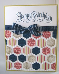 Southern Inkerbelles: Honeycomb Galore  Because of its colors, this could easily be turned into a 4th of July card.