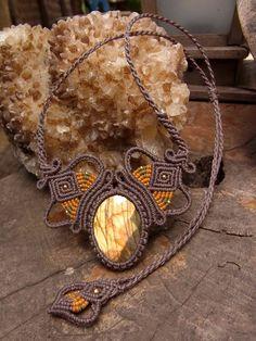 Macrame Necklace Pendant Labradorite Stone Waxed Cord Handmade Handcrafted #Handmade #Pendant