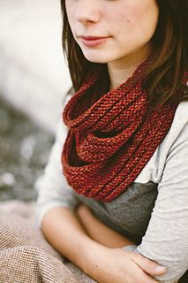 This is kind of a fake cowl. It looks like it's looped around 3 times, but it's just one. Arbutus by Jane Richmond.