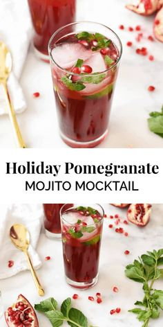 Set the holiday mood with this beautiful pomegranate mojito mocktail. It's a blend of sweet and tart, and takes 5 minutes to make - the perfect refreshment! || The Butter Half #holidaydrinks #holidaymocktail #mocktailrecipes #thebuterhalf