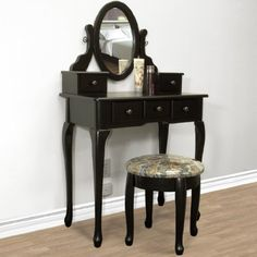 Black Vanity Table Set Jewelry Armoire Makeup Desk Bench Drawer $139.95