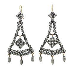 Georgian Cut Steel Open Triangular Earrings, c. 1820