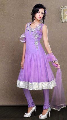 $133.09 Purple 3/4 Sleeve Net Long Anarkali Salwar Kameez 19828