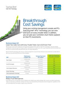 Savings Brief with Intel vPro technology - Breakthrough Cost Savings