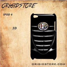 Alfa Romeo Car Bumper Logo Black White Snap On 3D For Ipod Touch 4 Case