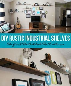 DIY Rustic Industrial Shelves...for all the Lego creations Josh has made!