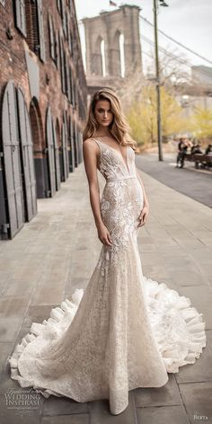 berta spring 2018 bridal sleeveless deep plunging v neckline full embellishment sexy elegant fit and flare wedding dress open low back chapel train (7) mv -- Berta Spring 2018 Wedding Dresses