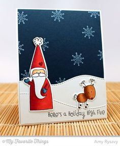 Christmas Cuteness stamp set and Die-namics, Stitched Snow Drifts Die-namics - Amy Rysavy #mftstamps