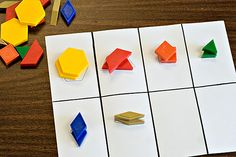 Ideas for Oranizing Pattern Blocks.  What shapes can be used to make the shapes?