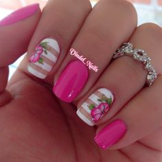 .Pink HIBISCUS solids and stripes nail art. Pretty, elegant, love it.
