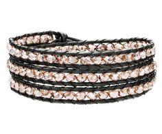 OKAJEWELRY 3 Wraps Leather Wrap Bracelet Light Pink Crystal Beads Handmade Woven
