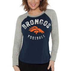 Denver Broncos Touch by Alyssa Milano Women s Lay-Up Thermal Raglan Long  Sleeve T-Shirt - Navy 5dc488dac