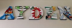 Custom Painted Little Boy's Wall Letters - Angry Birds SophiasRosieRoom at Etsy