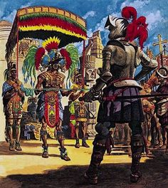 """""""Hernando Cortes, Conqueror from Sunny Spain"""", Peter Jackson. This is a photo of Hernando Cortes facing an Incan leader for a revolution. This revolution was influenced by enlightenment in Haiti and France. Nationalism was also the driving force that pushed latinos to revolt. The American and French revolutions inflicted hope on them and tey toght if they can why cant we. source http://regentsprep.org/Regents/global/themes/nationalism/revolutions.cfm"""