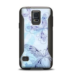 The Light Blue Butterfly Outline Samsung Galaxy S5 Otterbox Commuter Case Skin Set