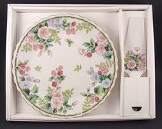 Andrea By Sadek FLOWERS u0026 BERRIES Cake Plate u0026 Server MIB & P L Bavaria China Porcelain Cake Plate Pink Roses Gold Rim | eBay ...