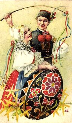 ukrainian easter card woman  man
