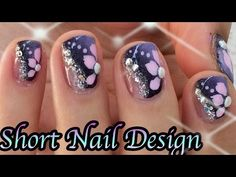 Purple and pink flower short nail design