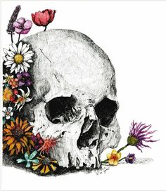 Sugar Skull Halloween, Flower Skull, Skull Art, Alien Logo, Creepy, Skeletons, Skulls, Illustration, Flowers