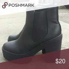 Chunky black chealsea booties 1.7 in platform. 4 in heel Boohoo Shoes Ankle Boots & Booties