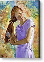 Becca brushing her hair Canvas Print by Paul Krapf