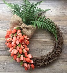 "18"" Tulips Door Wreath Orange Carrot Tulips Spring Wreath... https://www.amazon.com/dp/B079RZ4ML5/ref=cm_sw_r_pi_dp_U_x_6X3GAb3WBSBFE"