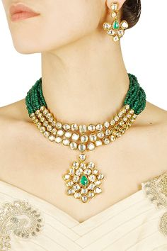Anjali Jain presents Gold finish kundan studded necklace with green stone earrings available only at Pernia's Pop Up Shop. Antique Jewelry, Beaded Jewelry, Handmade Jewelry, Bead Jewellery, Schmuck Design, Stone Earrings, Turquoise, Necklace Designs, Indian Jewelry