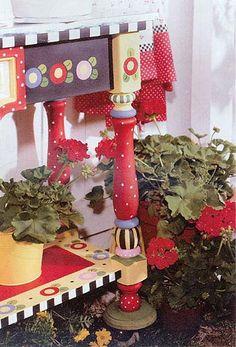 Garden Bench inspired by Mary Engelbreit art...too cute <3