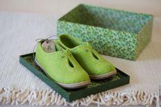 """Купить Валяные туфли """"Полевые тропки"""". - мятный, валяные туфли, валяная обувь, туфли валяные"""
