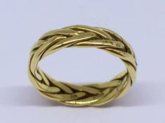 A Brand New 18ct Yellow Gold Plaited Wedding Ring 5mm Wide    Finger Size N Plaits, Wedding Rings For Women, Diamond Wedding Rings, Gold Rings, Finger, Jewels, Band, Yellow, Bang Braids