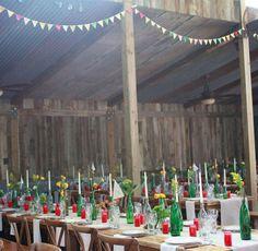 Party under a corrugated roof  (Lauren + Joe's Vintage Carnival Wedding, green wedding shoes)