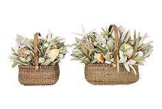 Beach Bungalow Table Toppers - A pair of Nantucket baskets make a lovely habitat for an exotic arrangement of land and sea elements including natural integrifolia, natural German statice, natural jute balls, bamboo, sea urchins, starfish, raffia, seashells and faux orchids. ($119.00/$185.00 retail)