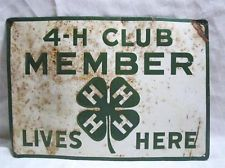 Old Antique Tin 4-H Sign Metal Advertising sign Farm Embossed