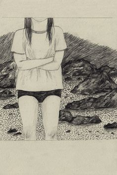 Cold on a beach by Lizzy Stewart,
