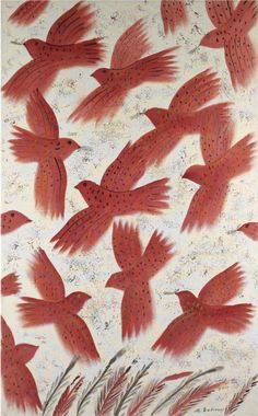 Alecos Fassianos (Greek, b.1935). Fire birds, N/D, Oil on canvas, 158 x 97 cm #painting #art #nature