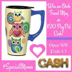 If you love Owls- Don't miss this fun Giveaway! This giveaway is sponsored by Mom Does Reviews and part of the Moms are Special Giveaway Hop! About the Spoontiques Owls Travel Mug, Yellow: This Ceramic Travel Mug is perfect for anyone on the go! With a...