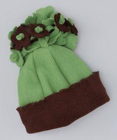 {Green & Brown Fleece Flower Beanie} To match!