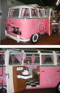 pink n white VW Bus restored auto vintage style van hippe