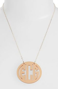 Moon and Lola Large Oval Personalized Monogram Pendant Necklace (Nordstrom.com Exclusive)