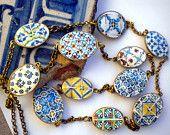 "Portugal  Antique Tile Replicas NECKLACE, 11 Azulejos from Porto, Lisbon, Ovar, Aveiro 38"" long STATEMENT PIECE"