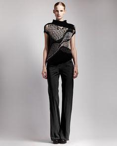 Asymmetric Crochet Top, Basic Ribbed Tank & Bias-Cut Crepe Pants by Rick Owens at Neiman Marcus.