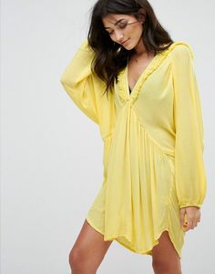 Anmol Beach Cover Up - Yellow