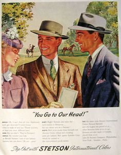 Original vintage print advertisement for Stetson Hats in International colors. Description from atticpaper.com. I searched for this on bing.com/images