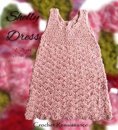 Crochet Pattern - Girl's Silk & Bamboo Shell pattern Crochet dress sizes 1-2 & 3-4 years.    www.etsy.com/shop/crochetrenaissance and www.ravelry.com/people/crochet41to5s