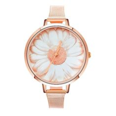 Elegant Rose Gold Mesh Daisy Ladies Fashion Wristwatch